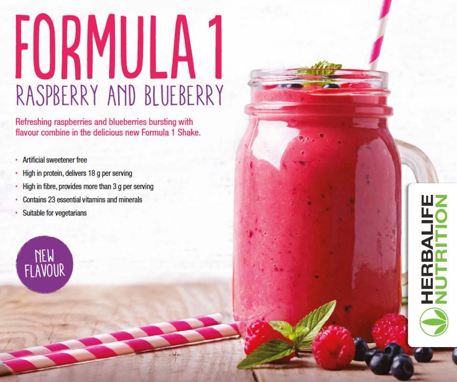 Raspberry and Blueberry Herbalife Shake